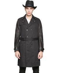Diesel Leather & Cotton Gabardine Trench Coat black - Lyst