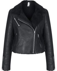 Topshop Womens Cropped Shearling Jacket  Black - Lyst
