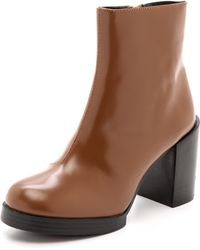 Cheap Monday Layer Ankle Booties  Brown - Lyst