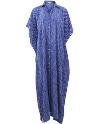Michael Kors Striped Button Caftan blue - Lyst