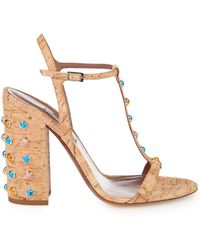 Tabitha Simmons Elvy Cork And Stone-Embellished Sandals brown - Lyst