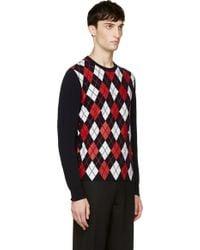 Moncler Gamme Bleu - Navy Printed Argyle Sweater - Lyst
