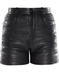 Saint Laurent Leather Shorts - Lyst