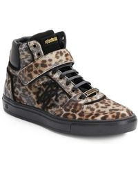Roberto Cavalli Leopard-Print Leather & Calf Hair High-Top Sneakers - Lyst