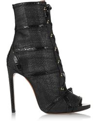 Alaïa Watersnake-Trimmed Raffia Ankle Boots - Lyst