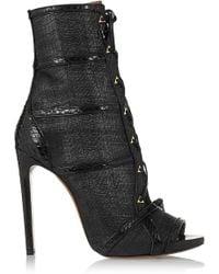Alaïa Watersnake-Trimmed Raffia Ankle Boots black - Lyst