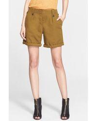 Burberry Brit | Roll Cuff Cotton & Linen Shorts | Lyst