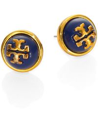 Tory Burch Melodie Cabochon Logo Stud Earrings - Lyst
