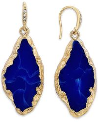 ABS By Allen Schwartz - Gold-Tone Lapis Stone Drop Earrings - Lyst