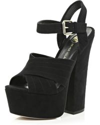 River Island Black Cross Strap Platform Sandals - Lyst