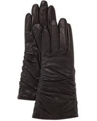 Grandoe - Pris Ruched Leather Gloves Black - Lyst