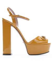 Gucci Nectarine Patent Leather Horsebit Peep Toe Platform Sandals - Lyst