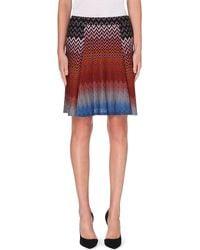Missoni Chevron Knit Flared Skirt Greengold - Lyst