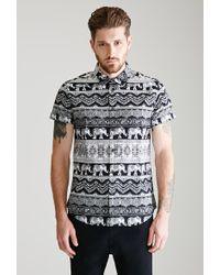 69a0af1c4b29f Forever 21 - Paisley Elephant Print Shirt - Lyst