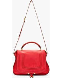 Chloé Red Grained Leather Marcie Medium Satchel - Lyst