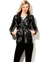Vince Camuto Patent Faux Leather Pea Coat - Lyst