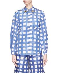 Chictopia - Flower Embroidery Grid Check Shirt - Lyst