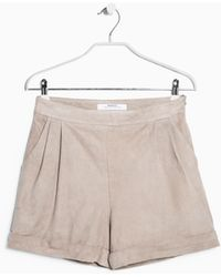 Mango High-Waist Nubuck Shorts - Lyst