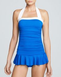 Ralph Lauren Lauren Bel Aire Shirred Bandeau Skirted Mio One Piece Swimsuit Dress - Lyst