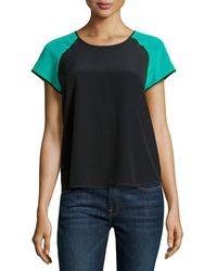Diane Von Furstenberg Liva Colorblock Short-sleeve Top - Lyst
