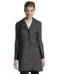 DKNY Black and White Novelty Donovan Tweed Jacket with Faux Leather Bottom Sleeves - Lyst