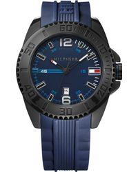 Tommy Hilfiger Mens Blue Silicone Strap Watch 46mm - Lyst