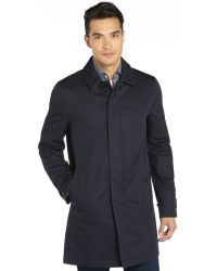 Burberry Navy Cotton Button Front Three Quarter Coat - Lyst