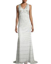 Badgley Mischka Collection Sleeveless Beaded Gown - Lyst