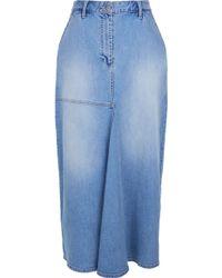 Tibi   Vintage Wash High Waisted Denim Skirt   Lyst