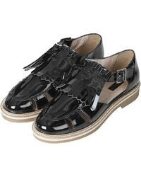 Topshop Womens Kendra Patent Fringed Shoes Black - Lyst