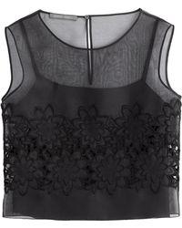 Alberta Ferretti Semi-Sheer Top With Embellishment - Lyst