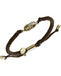 Michael Kors Goldtone Pavé Link Cord Bracelet - Lyst