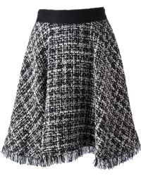 MSGM Boucle Knit Flared Skirt - Lyst
