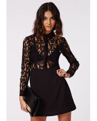 Missguided Kalesey Lace Bodycon Shirt Dress Black - Lyst