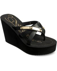 Fergie - Emma Wedge Thong Sandals - Lyst