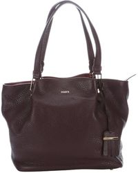 Tod's Purple Leather Top Handle Shopper Tote - Lyst