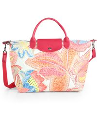 Longchamp Fleurs Medium Printed Nylon Bag - Lyst