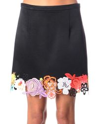 Christopher Kane Floral Lace Hem Skirt - Lyst