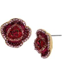 Betsey Johnson Crystallized Rose Stud Earrings - Lyst