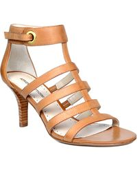 Adrienne Vittadini Goldie Patent Leather Heeled Sandals - Lyst
