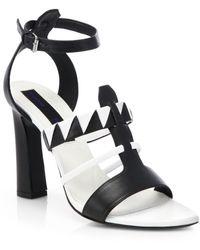 Rachel Zoe Black  White Leather Sandals - Lyst