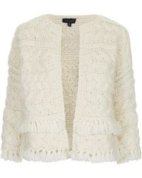 Topshop Hand-knitted Stitch Cardigan - Lyst