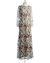 Vera Wang Lace Overlay Gown - Lyst