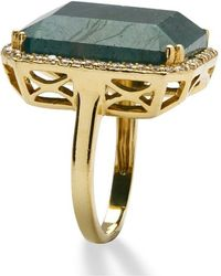 Palmbeach Jewelry - 18.88 Tcw Emerald-cut Green Sapphire And Cubic Zirconia Ring In 18k Gold Over Sterling Silver - Lyst