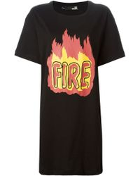 Love Moschino 'Fire' Print Oversized T-Shirt - Lyst