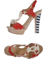 DSquared² 130mm Yacht Knot Leather Wood Sandals - Lyst