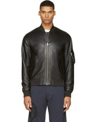 McQ by Alexander McQueen Black Leather Bomber Jacket - Lyst