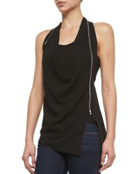 Bailey 44 Impossible Draped-front Top W Curved Zip - Lyst