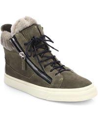 Giuseppe Zanotti Suede & Shearling Double-Zip High-Top Sneakers - Lyst