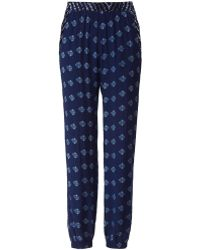 Velvet By Graham & Spencer Printed Trousers blue - Lyst